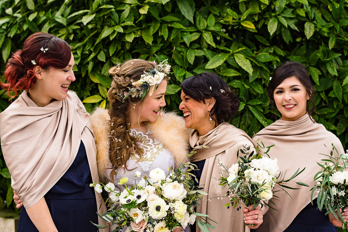 bridesmaids shawls winter floral crown wedding foliage