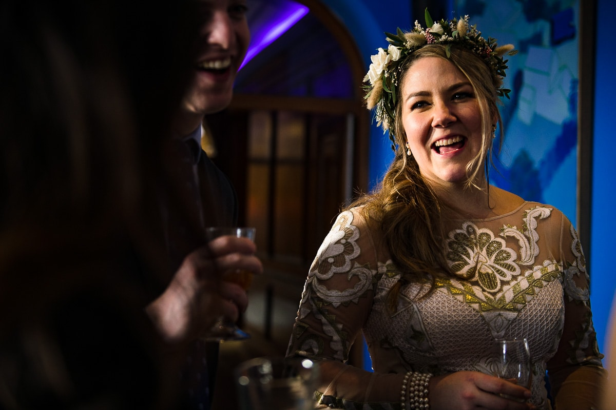 Cowley manor bride winter wedding flower crown