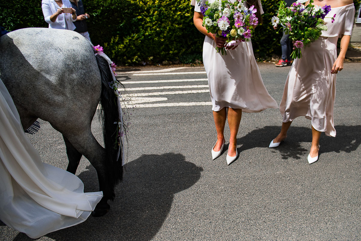 bridesmaids bouquet and horses tail detail