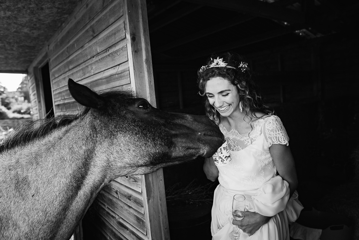 bride giggles as she plays with horse in country stable