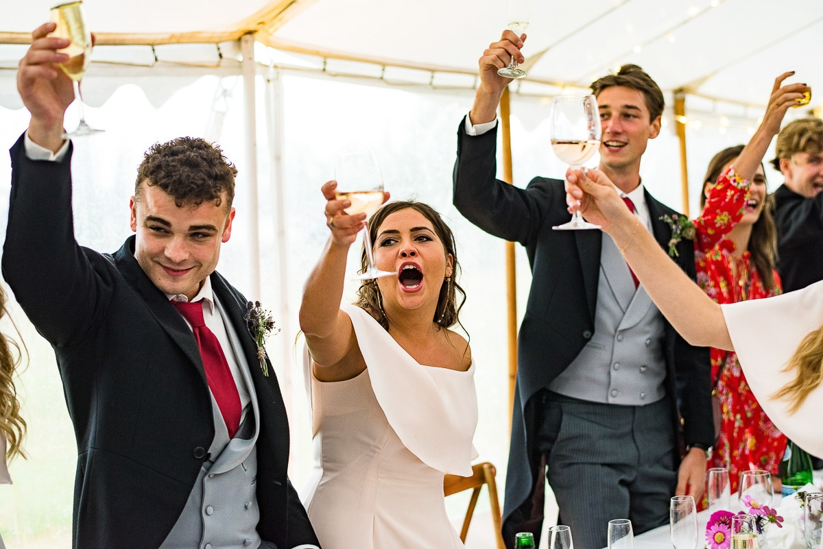 wedding guests cheer as they cheers their glasses