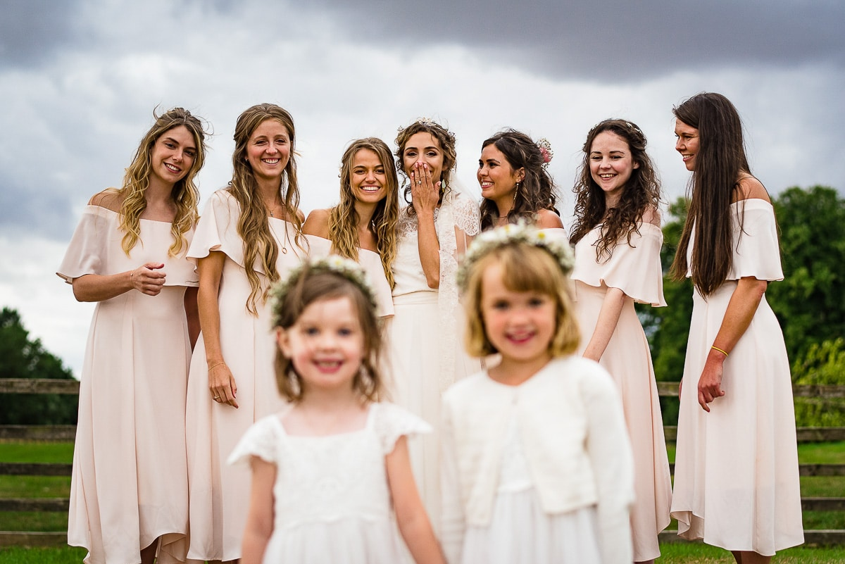 bridesmaids gather and pose for photos