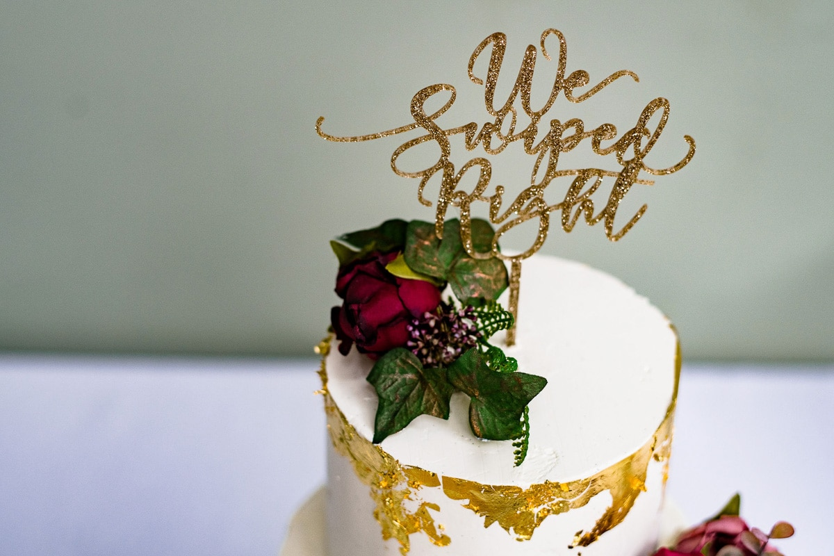 wedding cake with flower and text detail