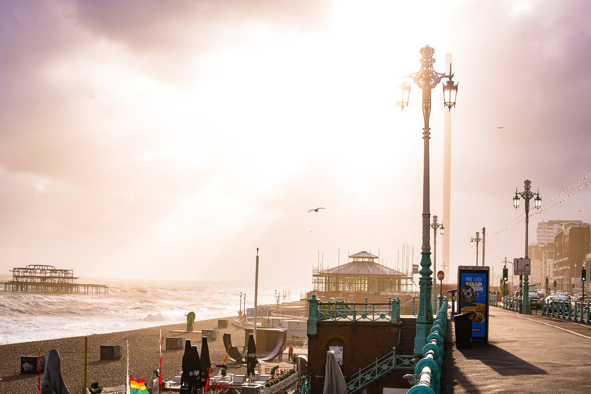 brighton pier at sunset landscape