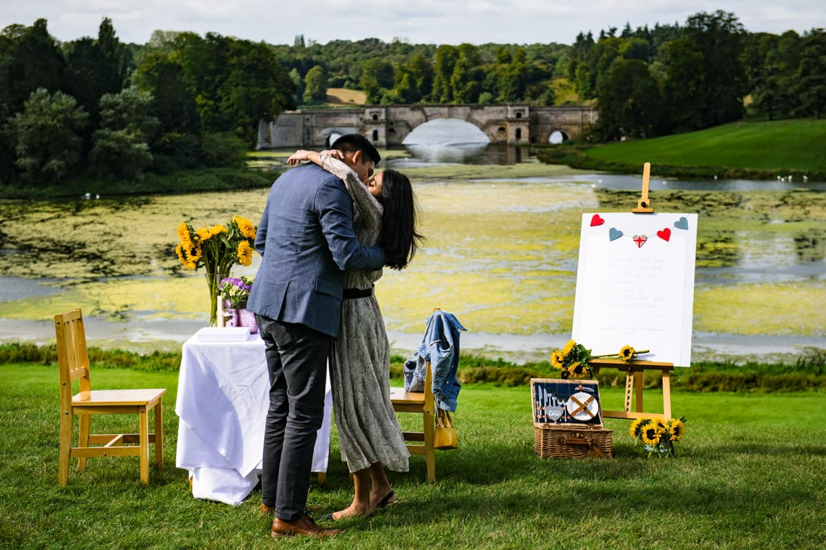 Blenheim palace surprise proposal picnic engagement